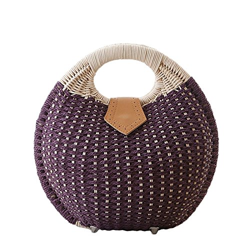 MYLL Women's Personality Cute Rattan Bag Borsa A Tracolla Borsa A Mano Borsa Retrò Casual,Brown Purple