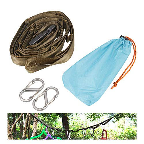 Dyna-Living Outdoor Camping Lanyard with 10 Hooks, Camping Rope Outdoor Camping Clothesline with Hook Camping Tent Accessories Can be Hung Various Sizes of Kettles, Mugs, Pots, Bowls