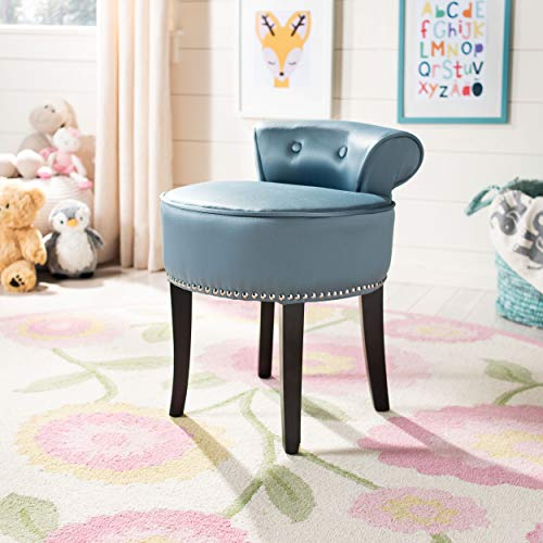 Safavieh Mercer Collecttion Georgia Vanity Stool, Teal and Espresso ()