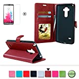 Sony Xperia Z5 Case Cover [with Free Screen Protector], Funyye Classical Pure Colour Premium Folio Leather Wallet Magnetic Flip Cover with [Credit Card Holder Slots] Book Type Style With Ultra Thin Fitted Protective Cover Shell for Sony Xperia Z5 - Claret Red