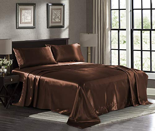 Satin Sheets Queen [4-Piece, Brown] Hotel Luxury Silky Bed Sheets - Extra Soft 1800 Microfiber Sheet Set, Wrinkle, Fade, Stain Resistant - Deep Pocket Fitted Sheet, Flat Sheet, Pillow Cases (Brown Silk Sheets)