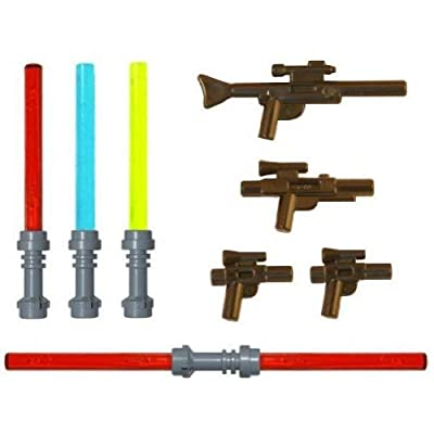 LEGO Lightsaber & Blaster Rifle Pack (4 Lightsabers) (4 Blasters) - LEGO Star Wars Minifigure Accessories: Toys & Games