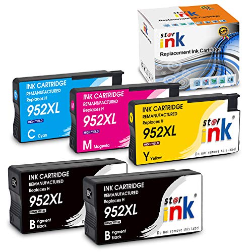 Starink Re-Manufactured Ink Cartridge Replacement for 952XL Work with Officejet Pro 8720 7740 8210 8216 8702 8710 8715 8725 8730 8740 Printers 5 Pack (2 Black 1 Cyan 1 Magenta 1 Yellow)