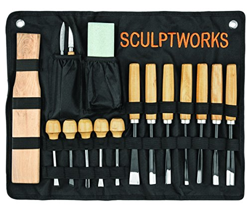 Whittling Wood Carving Tool Set 16 Piece from SculptWorks includes Beginners Whittling knife & is perfect for the first time Woodsculpting novice plus all accessories with woodwork Informational Flyer
