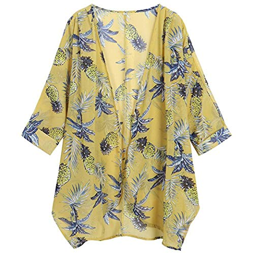 UOFOCO Loose Kimono Blouse for Womens Chiffon Cardigan Casual Floral Print Long Sleeve ()