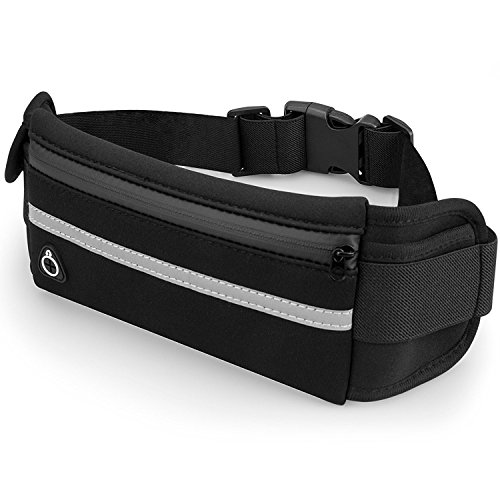 Black Running Belt, Elastic Waist Pack, Waist Bag for Apple iPhone 8 Plus/7 Plus/X/8/7/6S Plus/6/5S/SE,Samsung S8 Plus/S8/Note 8/4/S7 Edge/S6,LG, Cell Phone Pocket for Runners Belt,Jogging,Fitness,Gym