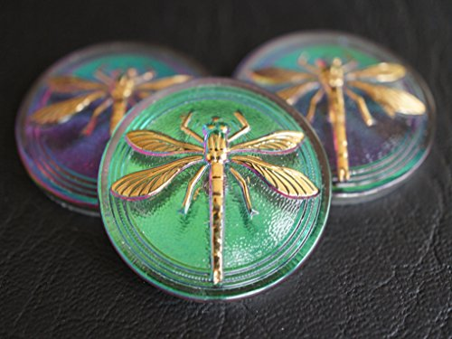 - Hand Made Art Czech Glass Button Cabochon Green-Purple Vitrail - Gold Dragonfly (without brass eyelet) size 14, 31.5mm 1 pc