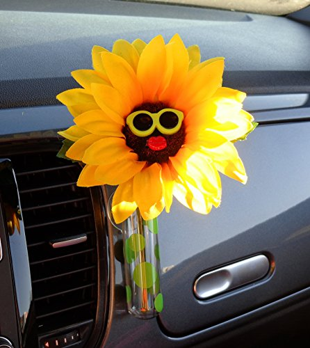 Bling My Bug VW Beetle Sunflower Green Sunglasses with Universal Vase