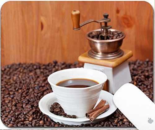 Price comparison product image Luxlady Gaming Mousepad 9.25in X 7.25in IMAGE: 24433953 cup of coffee and roasted coffee beans with retro manual mill cinnamon