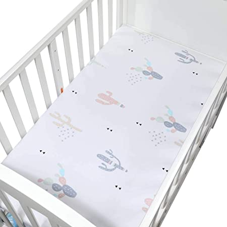 Amazon Com Brandream Cactus Crib Sheets Baby Fitted Crib Sheet For Boys And Girls Soft Toddler Sheets With Green Plant Printed Infant Newborn Baby Standard Size Sheets Kitchen Dining