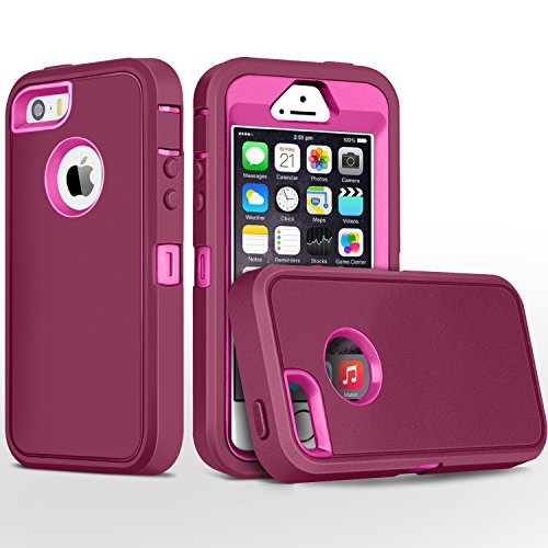iPhone 5S Case,iPhone SE Case,Fogeek Heavy Duty PC and TPU Combo Protective Defender Body Armor Case for iPhone 5S,iPhone SE and iPhone 5 with Finger Print Function(Wine Red/Rose)