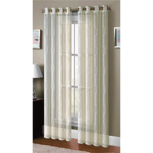 Window Elements Boho Embroidered Sheer Faux-Linen Extra Wide 108 x 96 in. Grommet Curtain Panel Pair, (Window Treatment Ideas)