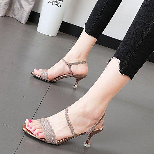 Xue Qiqi Klassische tau-Toe Sandalen weibliche Licht fein ist mit der high-heel Schuhe 亮 exquisite minimalistische Schuhe