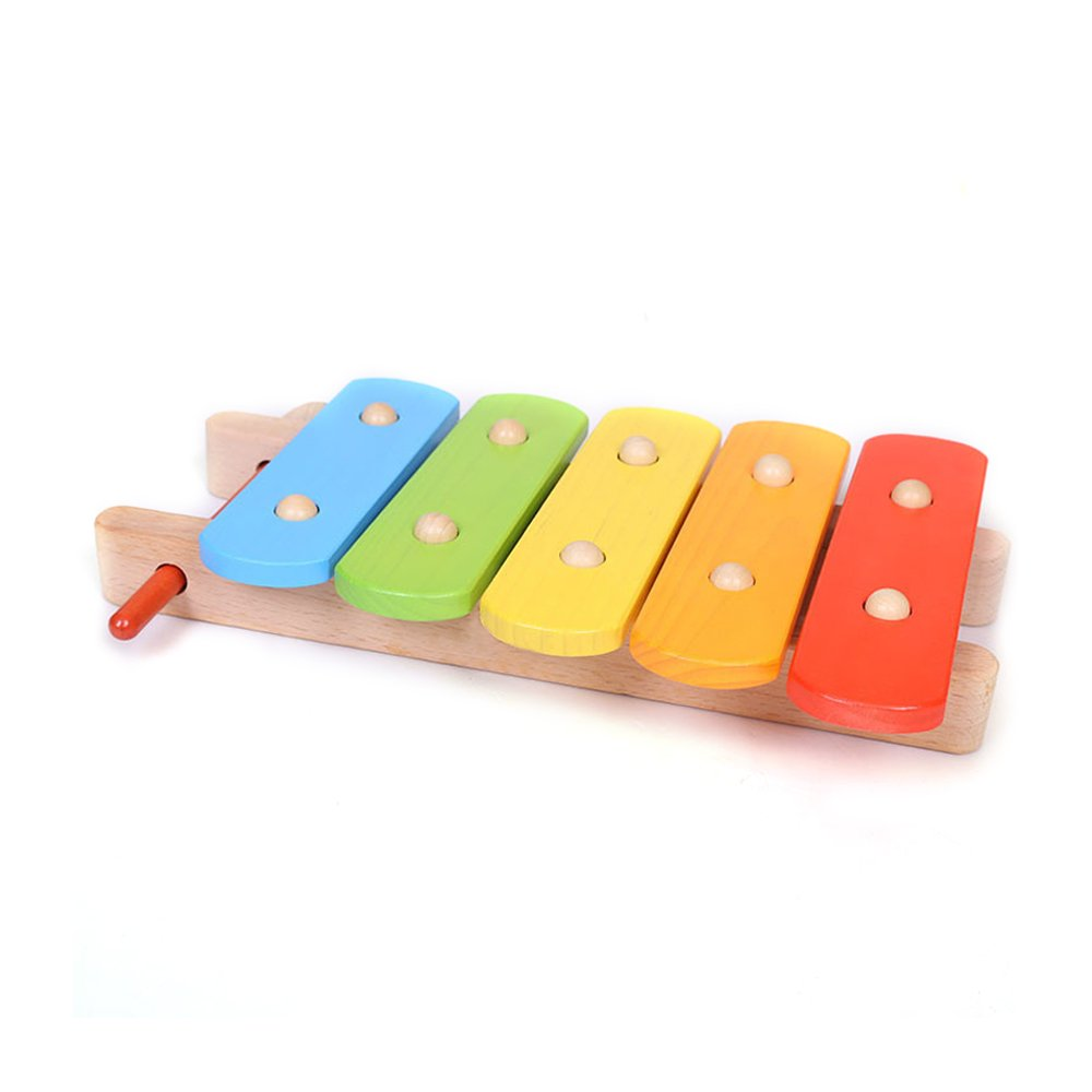 Baidercor Wooden 5 Tones Xylophone Musical Toys for Baby