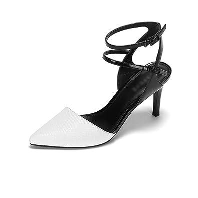 MHSXN Mme Retro Pompes Business Stiletto Pointu Chaussures Femme Élégante Noir Chaussures de Soirée,Black-EU:40/UK:7