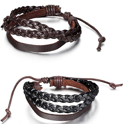 Flongo Men's Womens 2PCS Vintage Braided Woven Leather Wrap Curb Chain Surfer Bracelet, Fit 7-9 inch Wrist