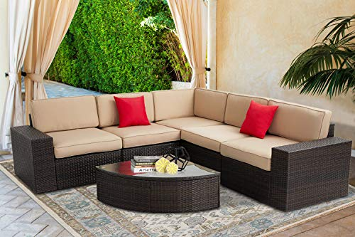 SOLAURA Outdoor Furniture Set 6-Piece Wicker Furniture Modular Sectional Sofa Set Brown Wicker Light Brown Cushions Sophisticated Sector Glass Coffee Table with Waterproof Cover