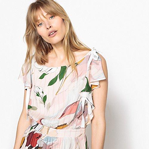 Blumenmuster Redoute Frau Bedruckt Collections Gerader Maxikleid Form Hautfarben La Und Mit RnOxR