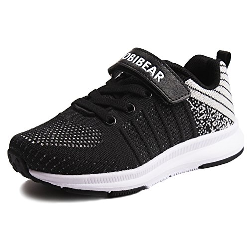 Girls Sneakers School Boys Sports Running Casual Kids Shoes Athletic Walking Lightweight Breathable Black (31 Black Track)