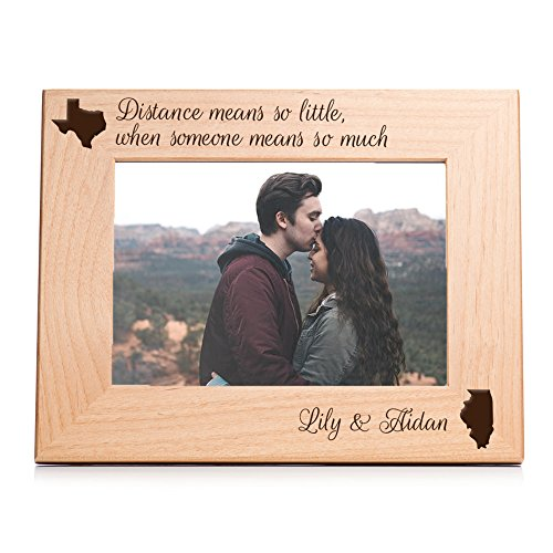 Personalized Long Distance Picture Frame (5 x 7 Landscape) - Engraved Long Distance Relationship Gift