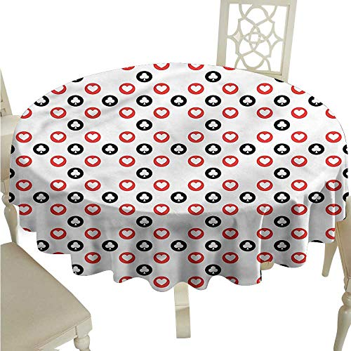 (ScottDecor Table Cover Casino,Spots Blackjack Gaming Luck Christmas Tablecloth Round Tablecloth D 36