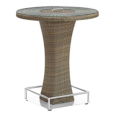 Armen Living LCOLBTTOBR Olina Outdoor Pub Table with Tempered Glass Top and Brown Rattan - Contemporary Round outdoor column Bar Table from the olina collection Features rain resistant Rattan and beautiful glass top Product dimensions: 40.15W x 35.43D x.H - patio-tables, patio-furniture, patio - 51QtAhcvtlL. SS400  -