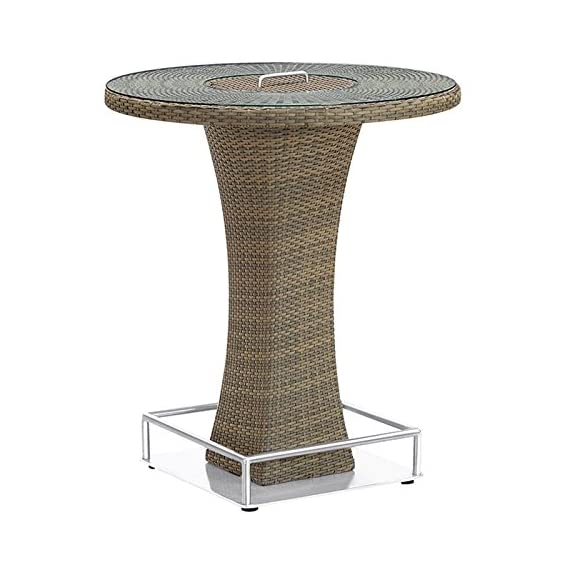 Armen Living LCOLBTTOBR Olina Outdoor Pub Table with Tempered Glass Top and Brown Rattan - Contemporary Round outdoor column Bar Table from the olina collection Features rain resistant Rattan and beautiful glass top Product dimensions: 40.15W x 35.43D x.H - patio-tables, patio-furniture, patio - 51QtAhcvtlL. SS570  -