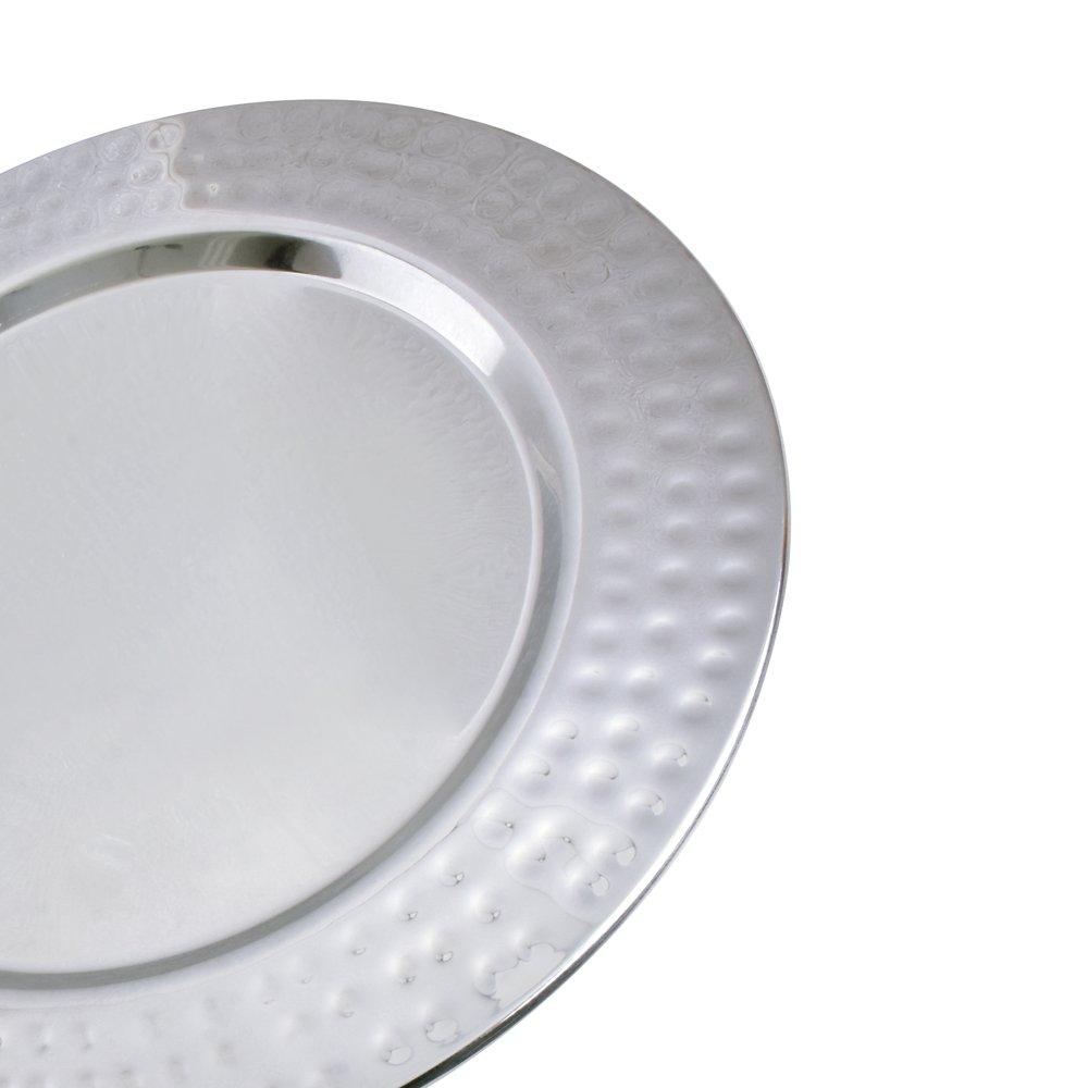 dimensioni Kosma Set di 6 caricabatterie Premium piastre Under-Plates decorativo 33 cm in acciaio inox lucidato a specchio piastra caricabatterie martellato