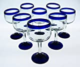 Mexican Glass, Wine or Sangria, Hand Blown, Blue Rim, Tulip Shape (Set of 8) 10 Oz