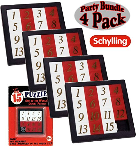 Schylling The 15 Puzzle (Number Slide Brain Teaser) with Clear Carry Case Party Bundle - 4 Pack ()