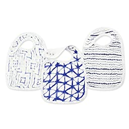 aden + anais silky soft snap bib 3 pack, indigo shibori