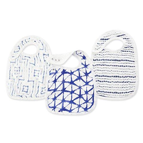 "aden + anais Silky Soft Snap Bib, 100% Cotton Muslin, Soft Absorbent 3 Layers, Adjustable, 9"" X 13"", 3 Pack, Indigo Shibori"