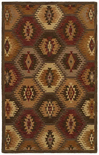 Rizzy Home SU8152-3' x 5' Southwest Collection Handtufted 100% Wool Area Rug, 3' x 5', Multi/Tan/Khaki/Olive Green/Dark Rust/Camel