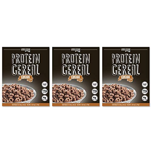 (3 Pack Protein Cereal, Low Carb Cereal, High Protein Cereal, 15g Protein, 4g Net Carbs, High Performance Cereal, Macro-Controlled Packages (Cocoa))