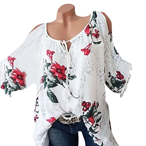 Big Sale! Women Blouse Daoroka Ladies Sexy Plus Size Floral Print Tassel Short Sleeve Bandage Casual Loose T Shirt Fashion Cute Comfort Pullover Tunic Tops