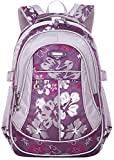 Tinksky Flowers Pattern Girls Backpacks Elementary School Student Bookbag Purple