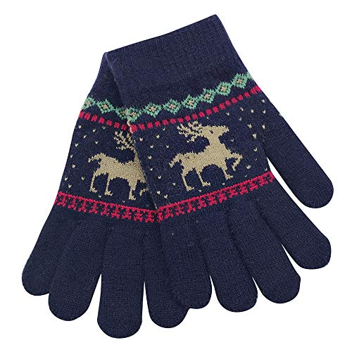 Gallity Christmas Glove Children Winter Warm Cartoon Deer Finger Mittens Gloves Knitted Gloves Gift (Navy) ()