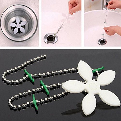 KSNOW Bathroom Shower Flower Drain Wig Chain Cleaner Hook Hair Filter Collector Catcher Strainer Clog Remover(2 Pack) (Daisy Clog)