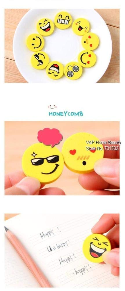 120 pcs/Lot Smile face Erasers rubber for pencil funny cute stationery Novelty eraser Office supplies by PomPomHome (Image #4)