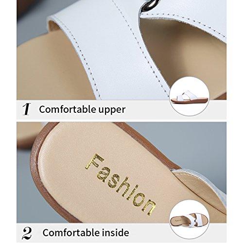 Mules Blanc Compensée Femme Plage Vacances Sabots Tongs Sandales Frestepvie de Eté Mode Vintage Confortable Chaussure UdqgxU6F