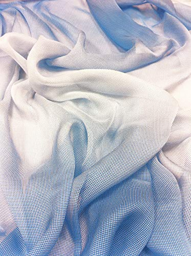 Polyester Ombre Print Chiffon Sheer Lightweight Fabric by The Yard (Blue)