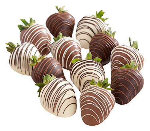 Golden State Fruit Chocolate Covered Strawberries, 12 Dark, Milk & White Delight by Golden State Fruit