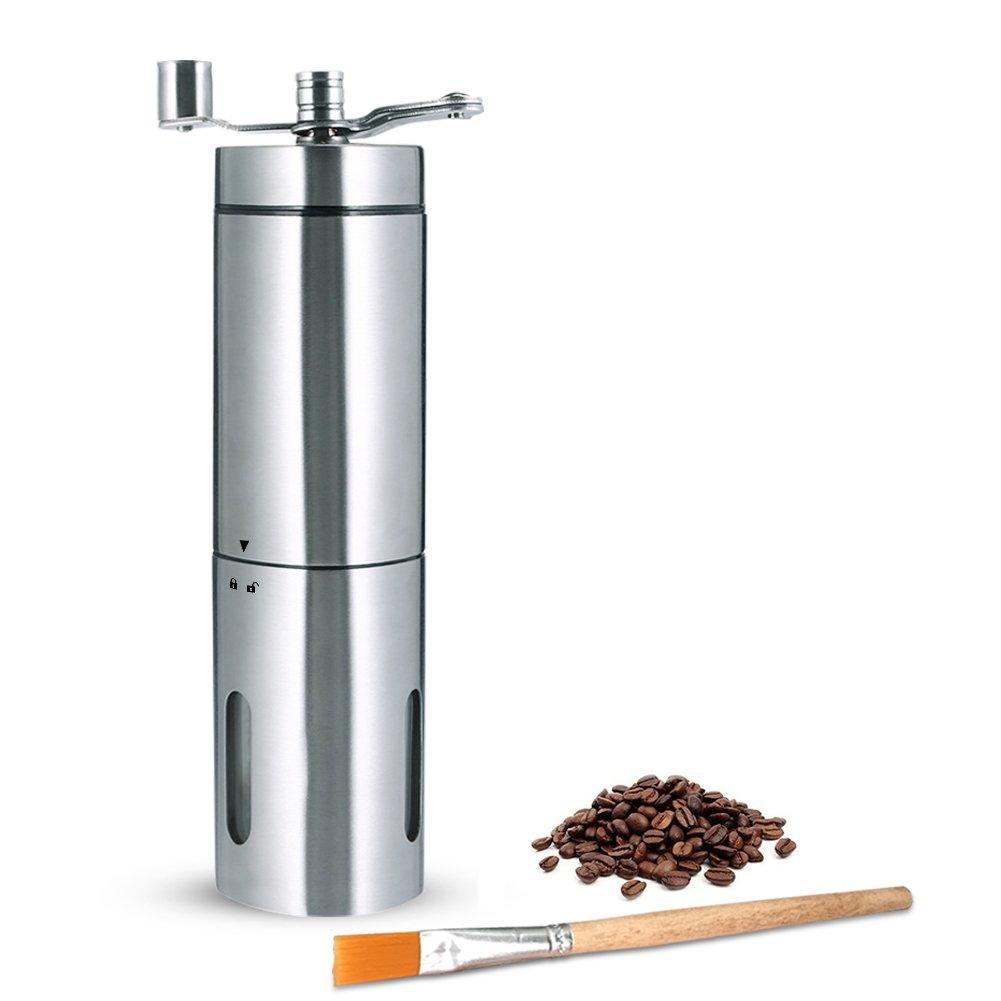 Molinillo de Café Manual PiAEK Portátil Acero Inoxidable Mano Molinillo de Café