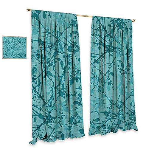 homefeel Teal Window Curtain Fabric Ink Drawing Inspired Intertwined Tree Branches Buds and Leaves in Abstract Design Decorative Curtains for Living Room W72 x L84 Teal Turquoise