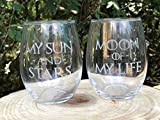 Set of Two My Sun And Stars Moon of My Life WINE Stemless Glass Laser Engraved 21 oz Vino Game of Thrones Inspired Dothraki Daenerys Drogo Free Shipping