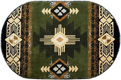 Concord Global Trading South West Native American Oval Area Rug Design C318 Sage Green 3 Feet X 4 Feet 8 Inch Oval