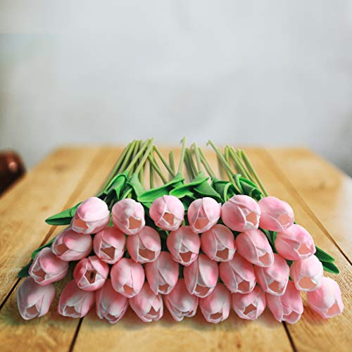 HANTAJANSS 30 Pcs Artificial Tulip Fake Holland Mini Tulip Latex-Look Like  Real Touch Flowers Eco-Friendly for Wedding Decor DIY Home Party Decoration