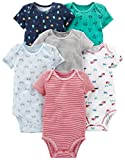 Simple Joys by Carter's Baby Boys' 6-Pack Short-Sleeve Bodysuit, White, Blue, Gray/Red, 0-3 Months