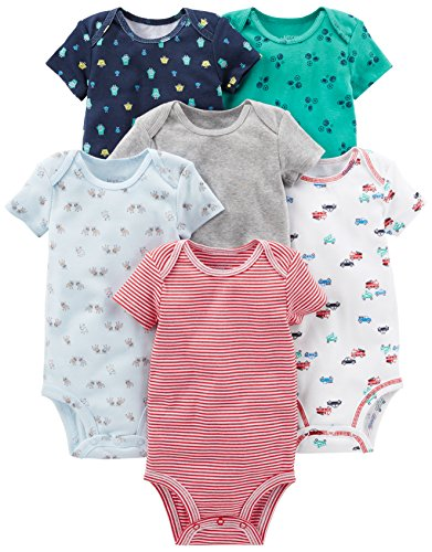 Simple Joys by Carter's Baby Boys' 6-Pack Short-Sleeve Bodysuit, White, Blue, Gray/Red, 3-6 ()