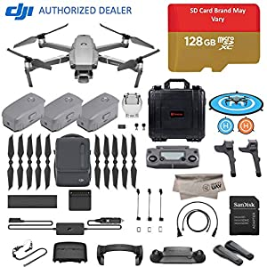 2018 DJI Mavic 2 Pro Drone Quadcopter, Fly More Combo Kit, Hasselblad Camera HDR Video, with 3 Batteries, 128GB Micro SD, Landing Gear & Pad, Prop Holder, Stick Protector, Extra Hard Carrying Case